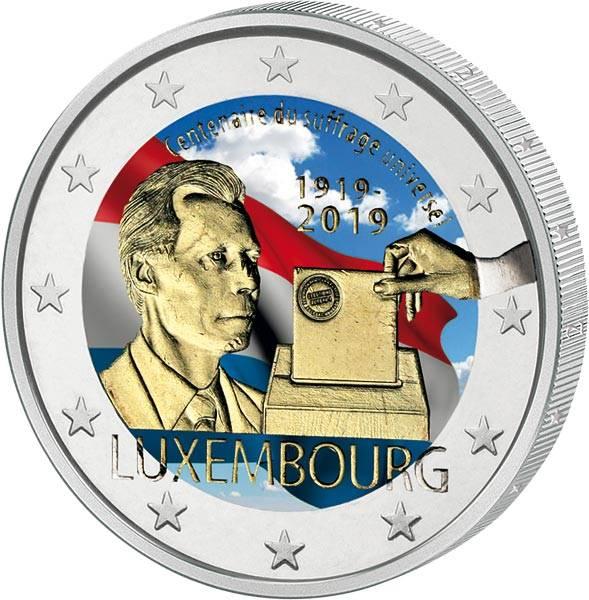2 Euro Luxemburg 100 Jahre Allgemeines Wahlrecht in Luxemburg 2019 mit Farb-Applikation
