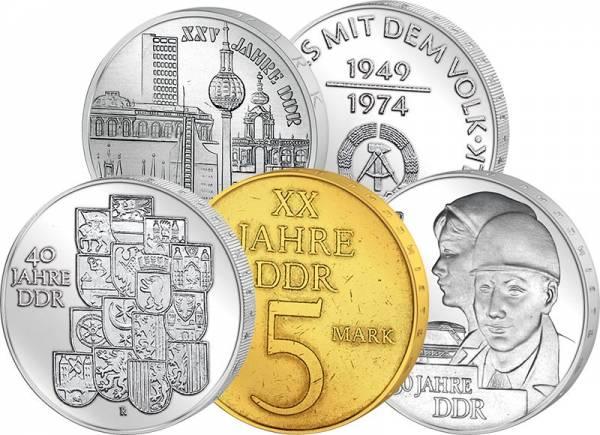 5 x Gedenkmünzen-Set DDR Jubiläen der DDR