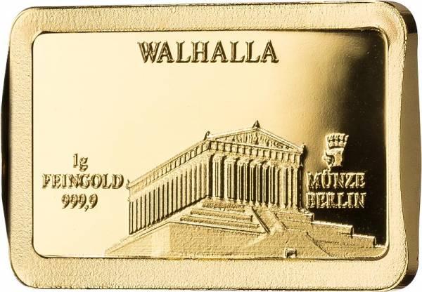 1 Gramm Goldbarren Deutsche Wahrzeichen Walhalla