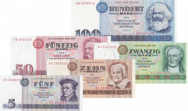 5 - 100 Mark DDR Banknoten-Serie 1971-1975