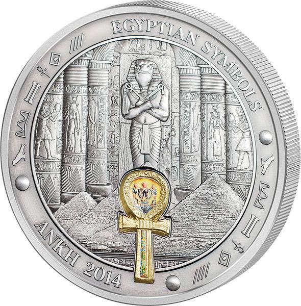 20 Dollars Palau Ägyptische Symbole Ankh 2014 Antik-Finish