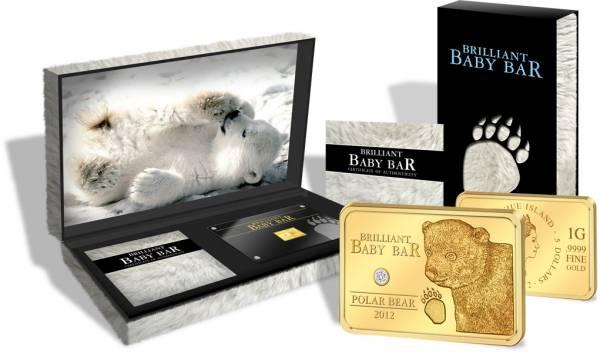 5 Dollars Niue Brilliant Baby Bar Polarbär 2012 Polierte Platte