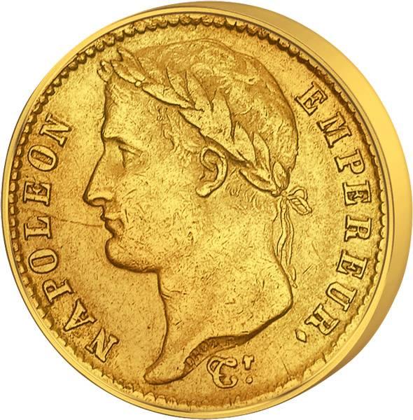 20 Francs Frankreich Napoleon mit Kranz 1807-1815 Sehr schön