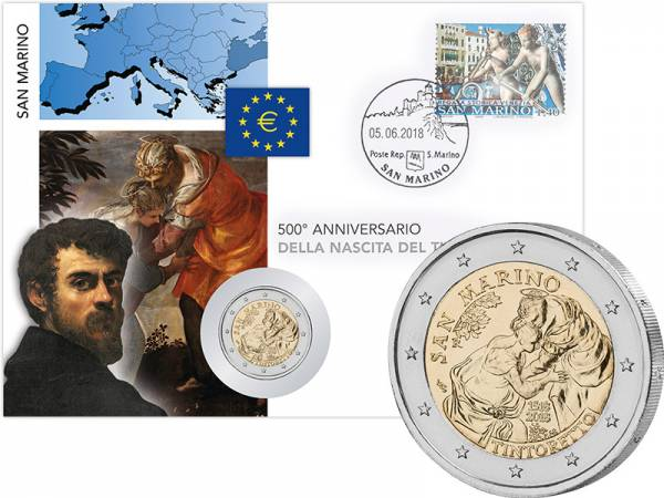 2 Euro Numisbrief San Marino 500. Geburtstag von Jacopo Tintoretto 2018