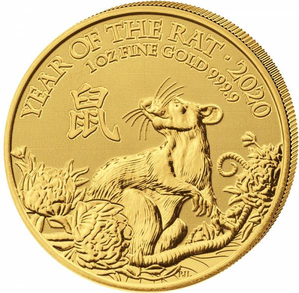 1 Unze Gold Großbritannien Jahr der Ratte 2020