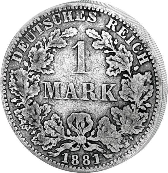 1 Mark Deutsches Kaiserreich kleiner Adler 1873-1887 Sehr schön