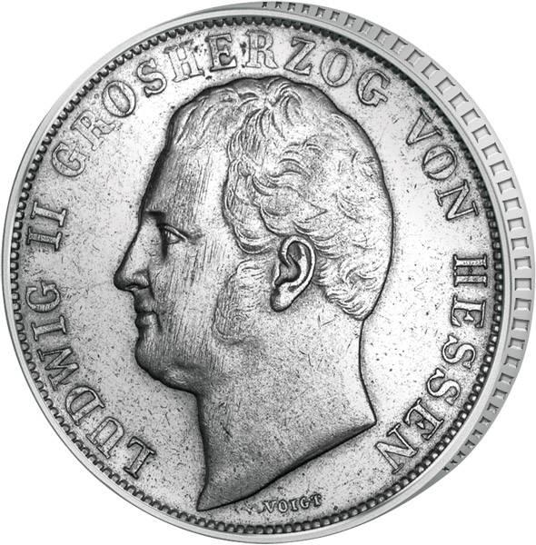 1 Gulden Hessen Darmstadt Großherzog Ludwig II. 1837-1847 Sehr schön