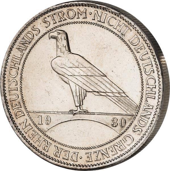 5 Reichsmark Weimarer Republik Rheinland-Räumung 1930