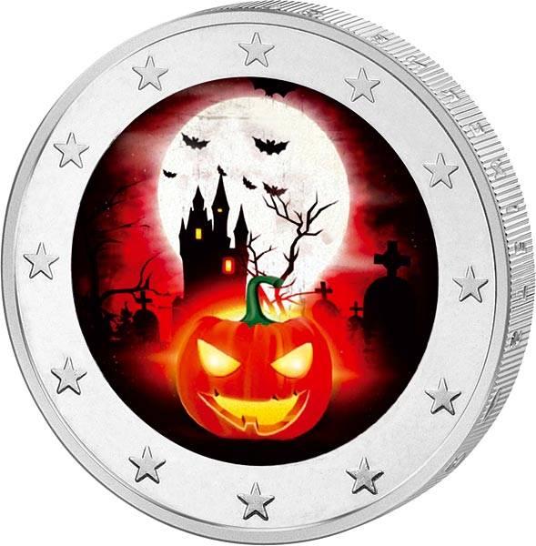 2 Euro BRD mit Farb-Applikation Halloween 2017