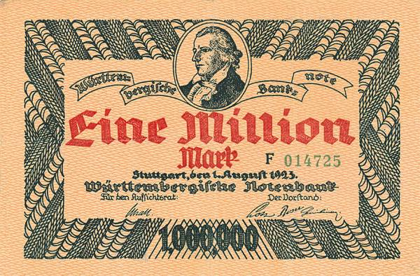1 Million Mark Banknote Stuttgart Schiller