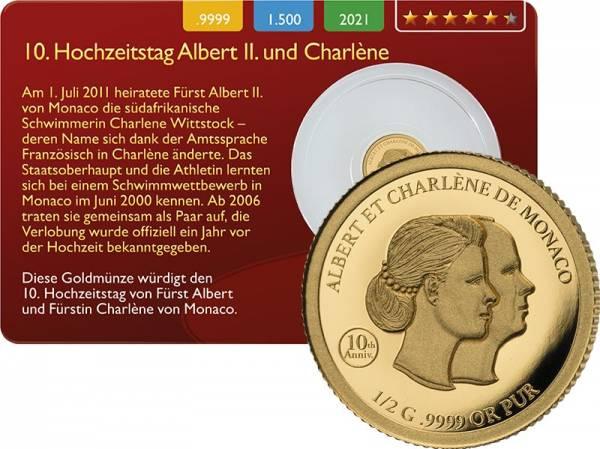 1000 Francs Guinea 10. Hochzeitstag Fürst Albert & Charlène 2021