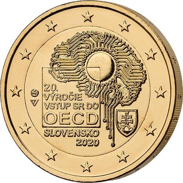 2 Euro Slowakei 20. Jahrestag des Beitritts zur OECD 2020 vollvergoldet