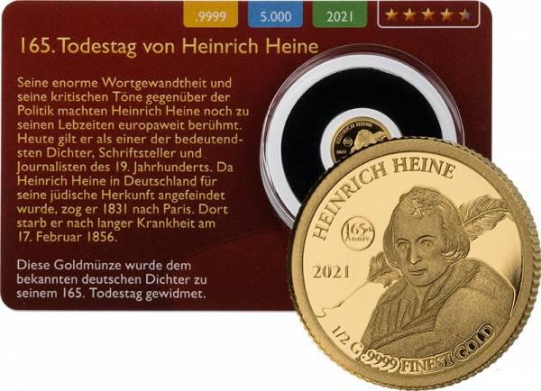 100 Francs Niger 165. Todestag Heinrich Heine Gold Coin Card 2020
