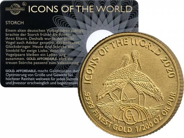 1/200 Unze Gold Ruanda Störche 2020