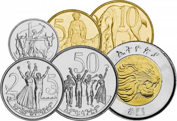 1 Cent - 1 Birr Äthiopien Kursmünzen 1977 - 2010