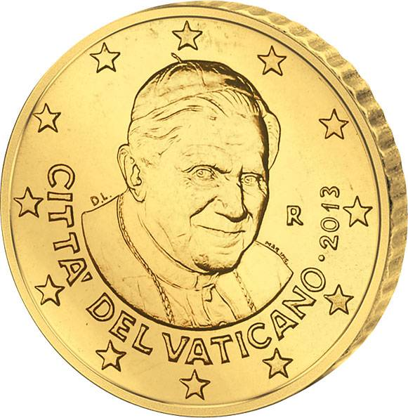 50 Cent Vatikan 2013 Papst Benedikt XVI. prägefrisch
