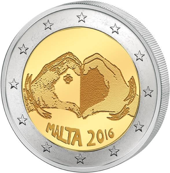 2 Euro Malta Von Kindern mit Solidarität Liebe