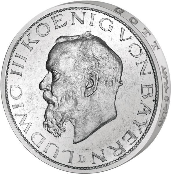 5 Mark Bayern Ludwig III. 1914 Vorzüglich