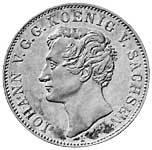 Ausbeutetaler Silber Johann König von Sachsen 1854 Vorzüglich