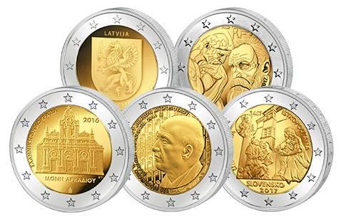 5 x 2-Euro-Gedenkmünzen 2016 und 2017