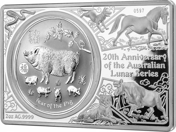 1 Dollar Australien 20 Jahre Lunar-Serie Jubiläumsbarren 2019