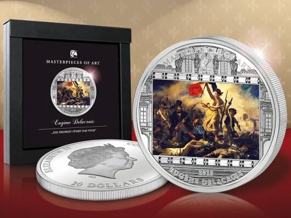 20 Dollars Cook-Inseln Delacroix-Freiheit führt das Volk 2013 Polierte Platte