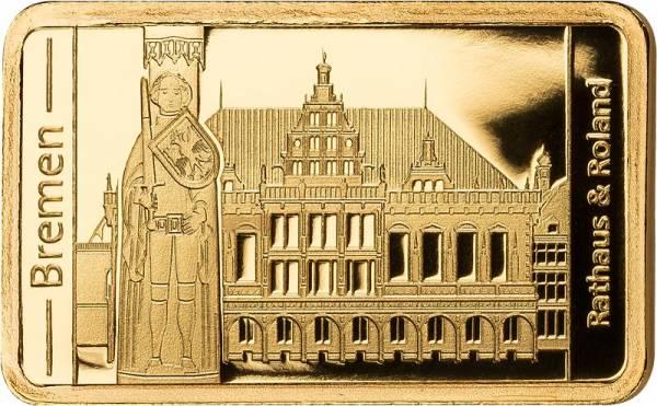 0,5 Gramm Goldbarren Bremen Rathaus und Roland