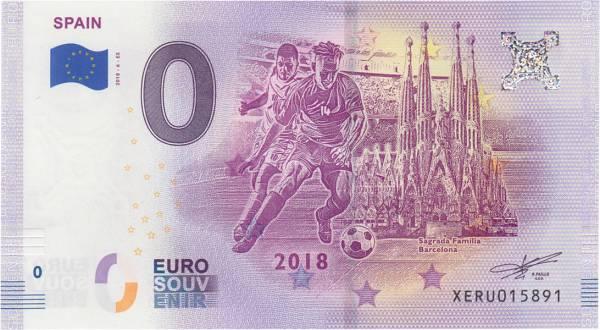 0-Euro-Banknote WM 2018 Spanien 2018