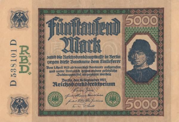 5000 Mark Deutschland Reichsbanknote 1922