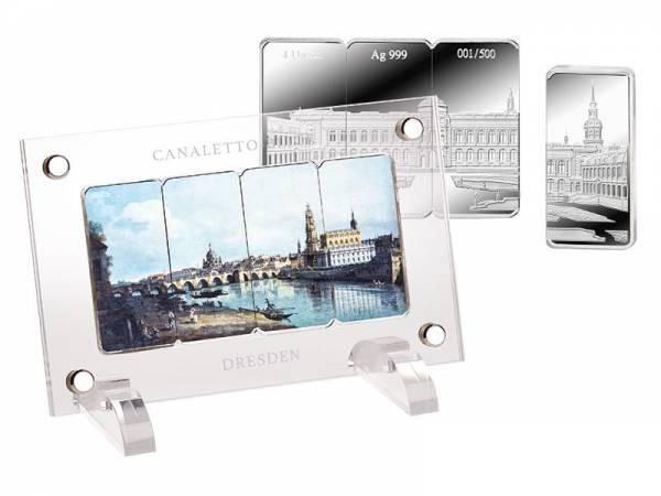 4 x 1 Unze Gedenkprägungssatz Canaletto Blick auf Dresden
