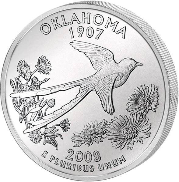 Quarter Dollar USA Oklahoma 2008