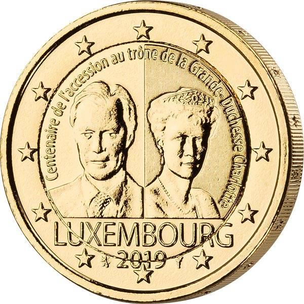 2 Euro Luxemburg 100. Jahrestag der Thronbesteigung von Charlotte 2019 vollvergoldet