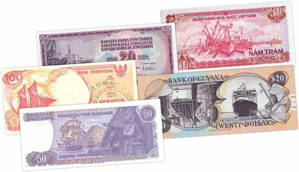 Banknoten-Kollektion Schiffe