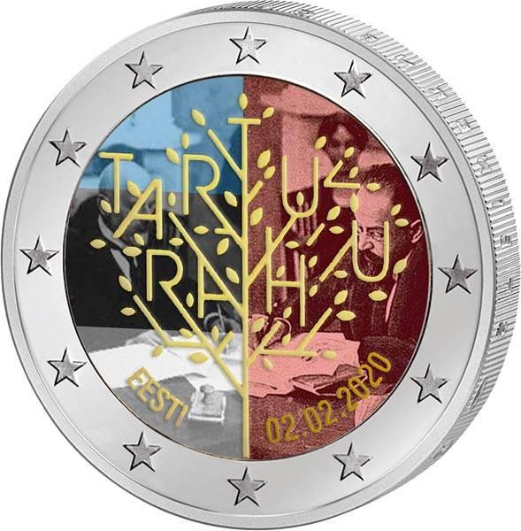 2 Euro Estland 100 Jahre Frieden von Tartu 2020 mit Farb-Applikation