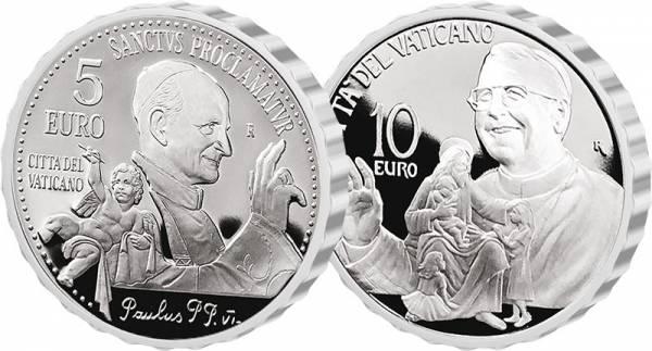 5 + 10 Euro Vatikan Heiligsprechung Papst Paul VI. & 40. Todestag Papst Johannes Paul I. 2018
