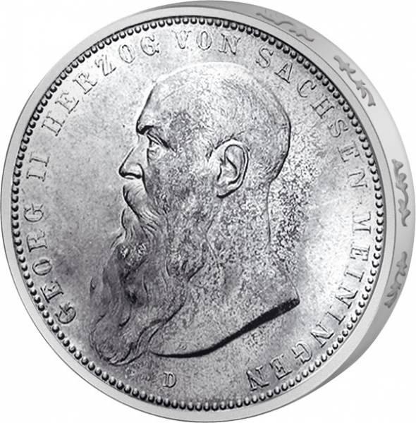 5 Mark Silber Georg II. Herzog v. Sachsen 1902-1908  Sehr schön
