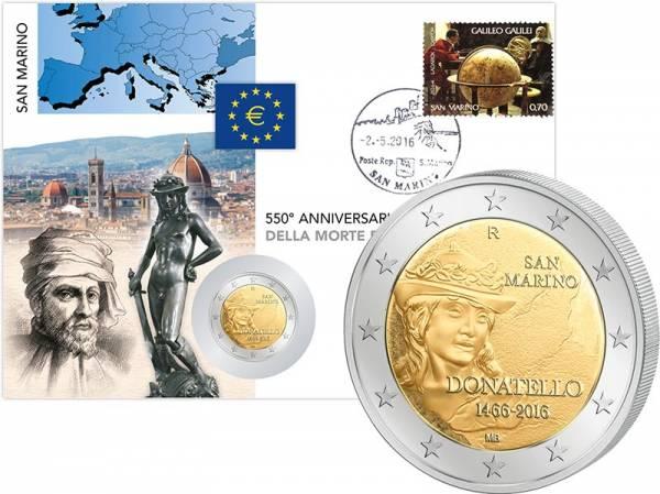 2 Euro Numisbrief San Marino Todestag von Donatello 2016