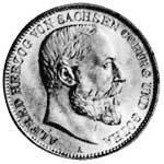 2 Mark Sachsen Coburg Gotha Alfred 1895 Sehr schön