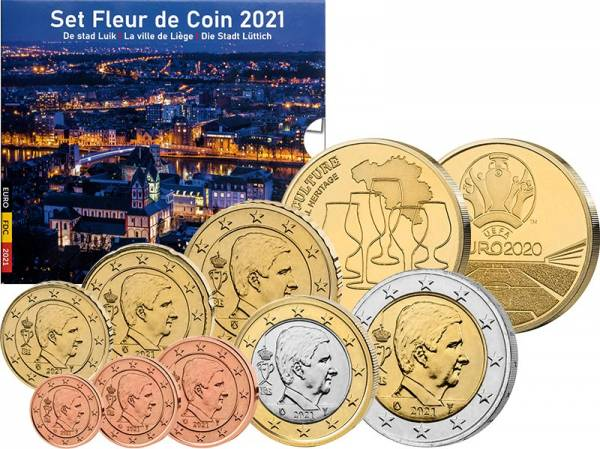 Euro-Kursmünzensatz Belgien 2021 inkl. zwei Gedenkprägungen