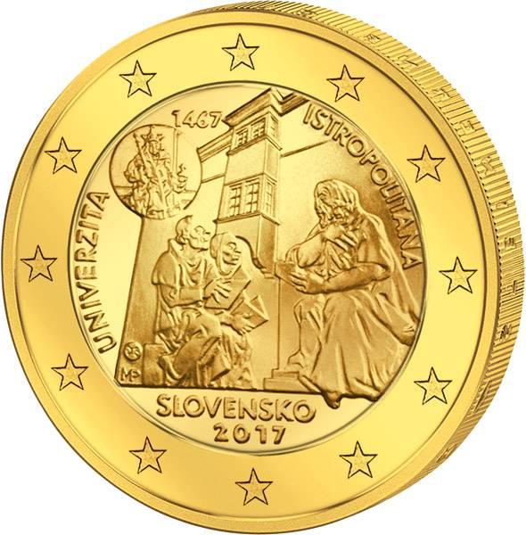 2 Euro Slowakei 550 Jahre Universität Istropolitana 2017 vollvergoldet
