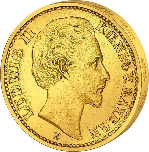 20 Mark Bayern Ludwig II. 1874-1878 Sehr schön