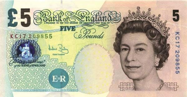 5 Pfund Banknote Großbritannien Elizabeth Fry - Engel der Gefängnisse 2012