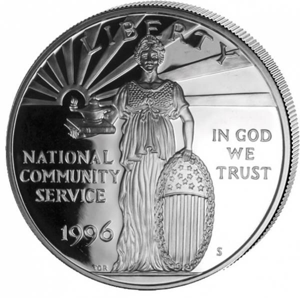 1 Dollar USA National Community Service 1996 Polierte Platte (PP)