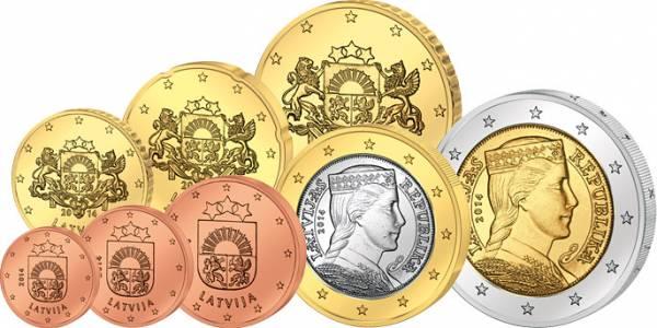 1 Cent - 2 Euro Kursmünzensatz Lettland 2014 prägefrisch