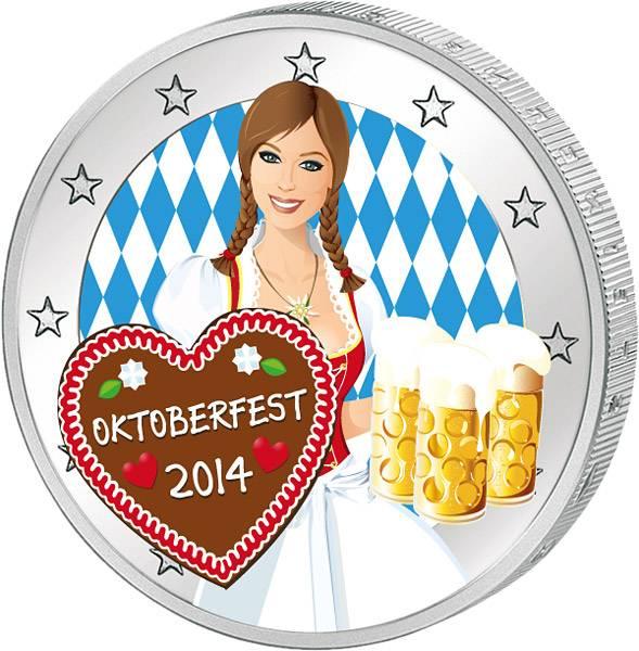 Gratis 2 Euro BRD Neuschwanstein prägefrisch mit Farb-Applikation Oktoberfest 2014