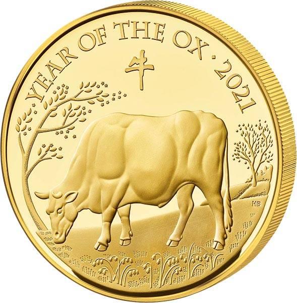1 Unze Gold Großbritannien Jahr des Ochsen 2021