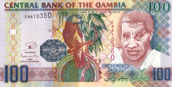 100 Dalasis Banknote Gambia Vogel