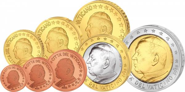 1 Cent-2 Euro  Euro-Kursmünzensatz Vatikan  Johannes Paul II. 2002  Stempelglanz