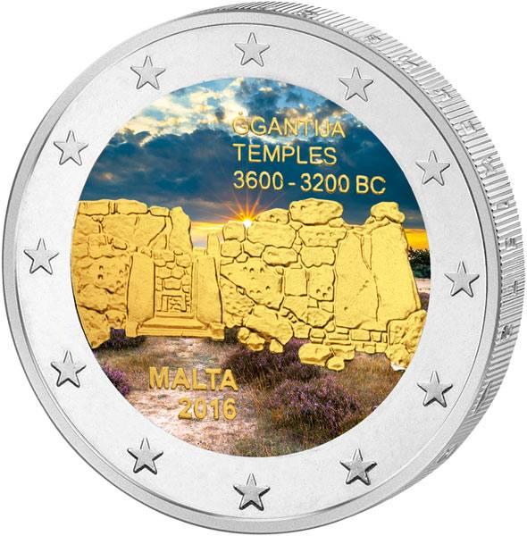 2 Euro Malta Ggantija-Gozo 2016 mit Farb-Applikation