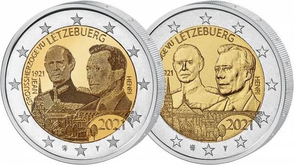Set 2 Euro Luxemburg 100. Geburtstag Jean 2021 pfr + Hologramm
